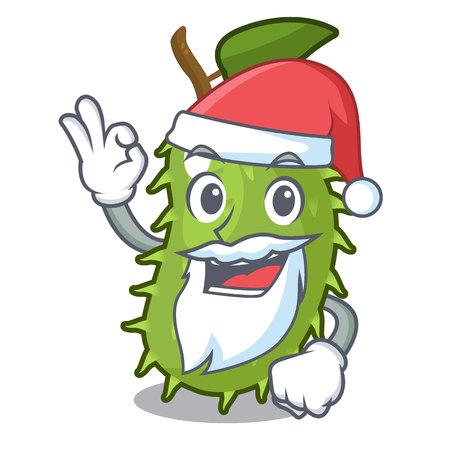 Santa fresh soursop fruit isolated on mascot vector illustration