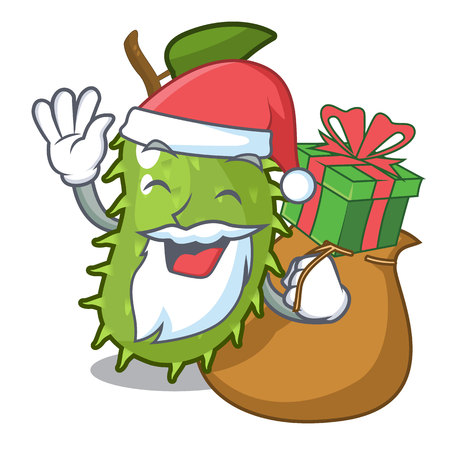 Santa with gift fresh soursop fruit isolated on mascot vector illustration