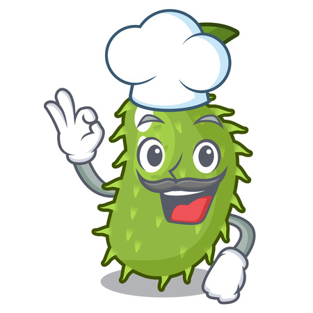 Chef character ripe soursop fruits for juice vector illustration