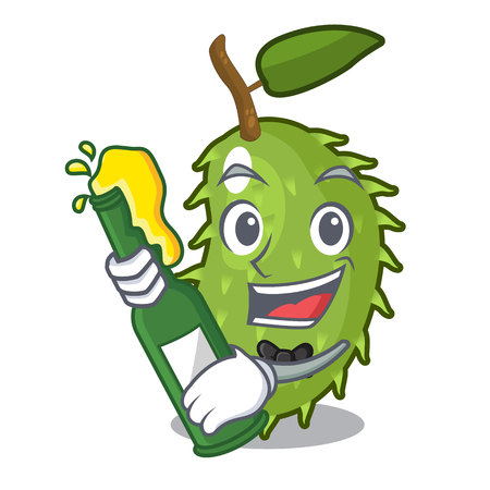 With beer fresh soursop fruit isolated on mascot vector illustration