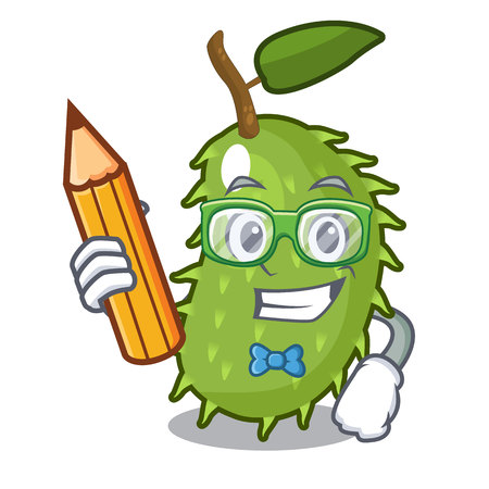 Student with book character ripe soursop fruits for juice vector illustration