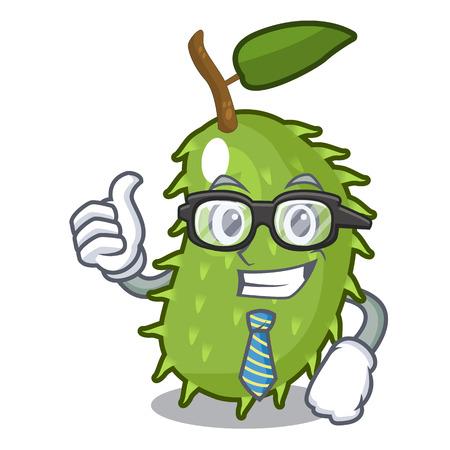 Businessman character ripe soursop fruits for juice vector illustration