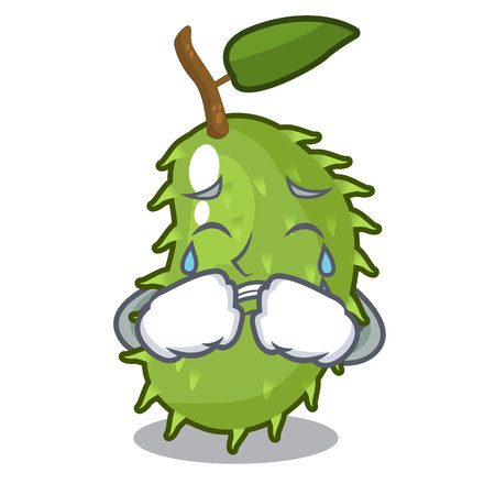 Crying sweet soursop fruit in cartoon kitchen vector illustration