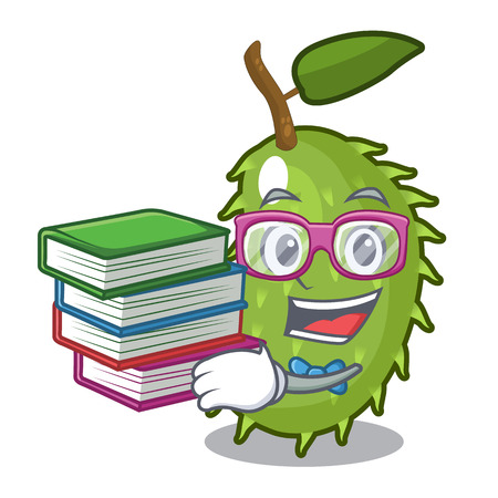 Student with book fresh soursop fruit isolated on mascot vector illustration Illustration