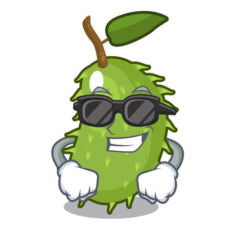 Super cool character ripe soursop fruits for juice vector illustration