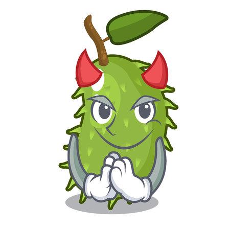Devil sweet soursop fruit in cartoon kitchen vector illustration