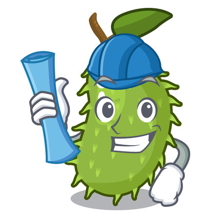 Architect character ripe soursop fruits for juice vector illustration