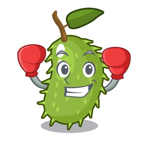 Boxing cartoon soursop fruit in the market vector illustration