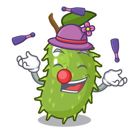 Juggling fresh soursop fruit isolated on mascot vector illustration Illustration