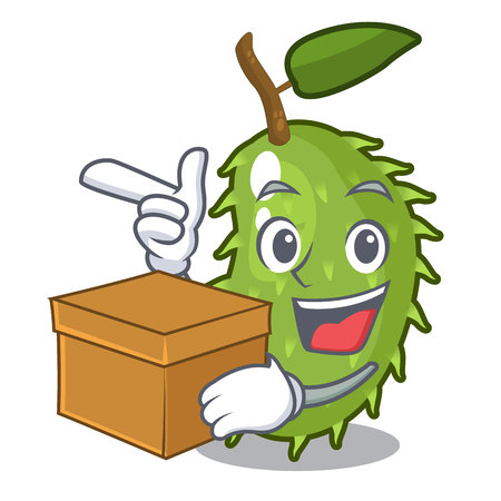 With box character ripe soursop fruits for juice vector illustration
