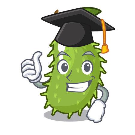 Graduation character ripe soursop fruits for juice vector illustration