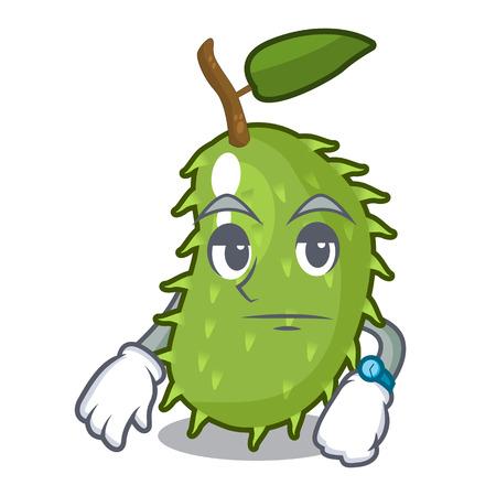 Waiting fresh soursop fruit isolated on mascot vector illustration