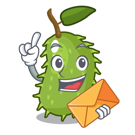 With envelope character ripe soursop fruits for juice vector illustration