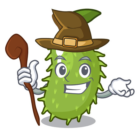 Witch sweet soursop fruit in cartoon kitchen vector illustration