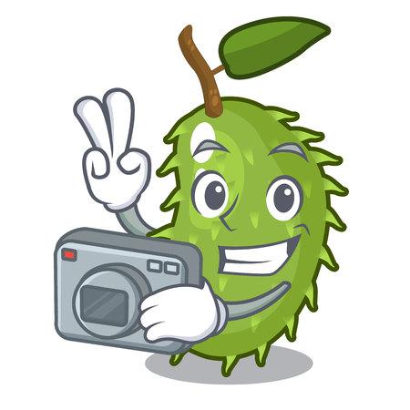 Photographer sweet soursop fruit in cartoon kitchen vector illustration Illustration
