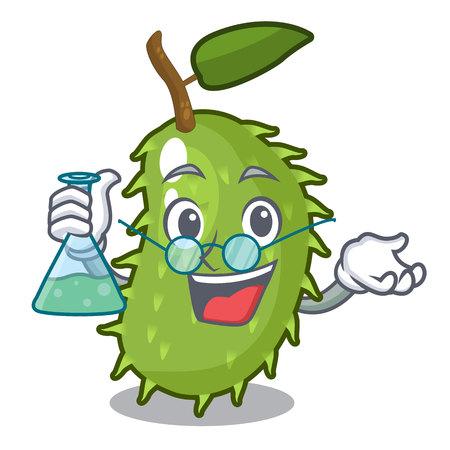 Professor character ripe soursop fruits for juice vector illustration