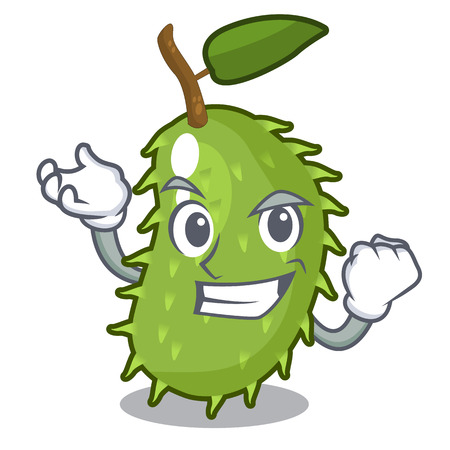 Successful character ripe soursop fruits for juice vector illustration