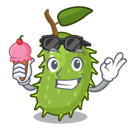 With ice cream character ripe soursop fruits for juice vector illustration Illustration