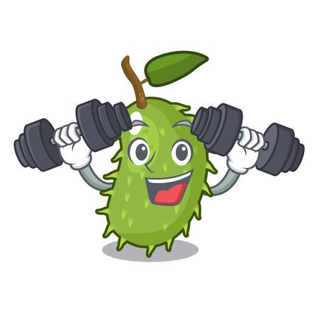 Fitness cartoon soursop fruit in the market vector illustration Illustration