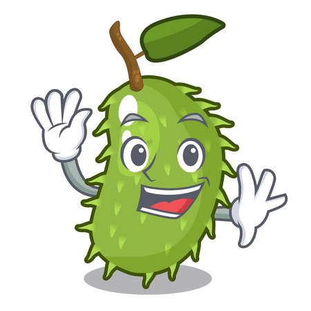 Waving character ripe soursop fruits for juice vector illustration