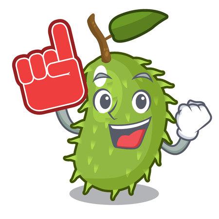 Foam finger fresh soursop fruit isolated on mascot vector illustration Illustration
