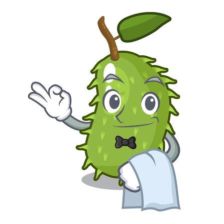 Waiter sweet soursop fruit in cartoon kitchen vector illustration