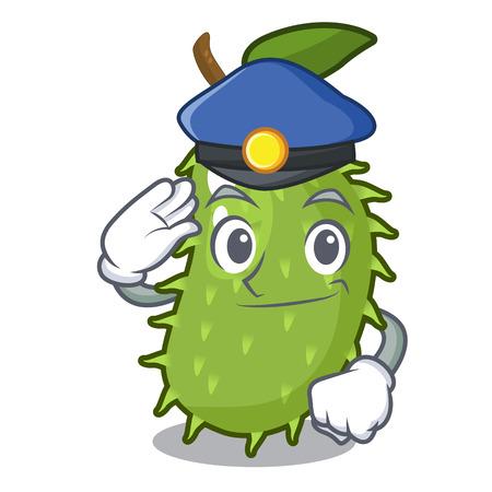 Police cartoon soursop fruit in the market vector illustration