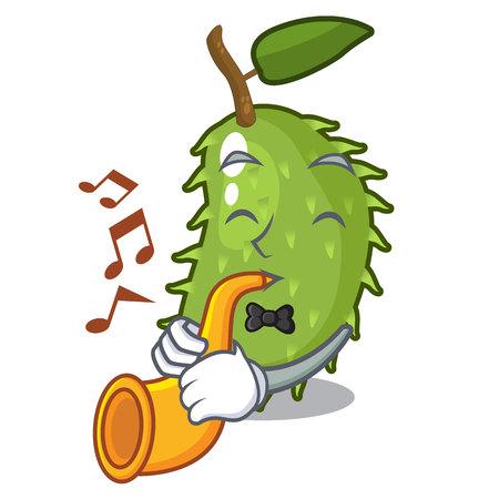 With trumpet sweet soursop fruit in cartoon kitchen vector illustration