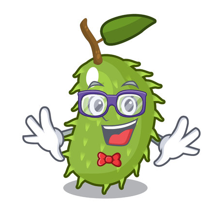 Geek character ripe soursop fruits for juice vector illustration