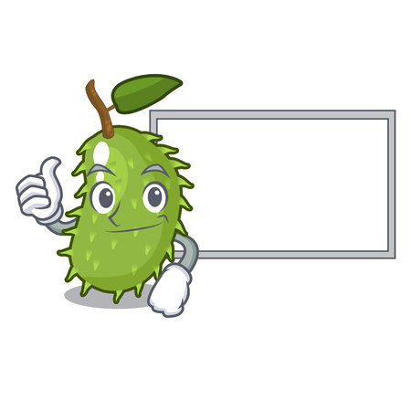 Thumbs up with board cartoon soursop fruit in the market vector illustration