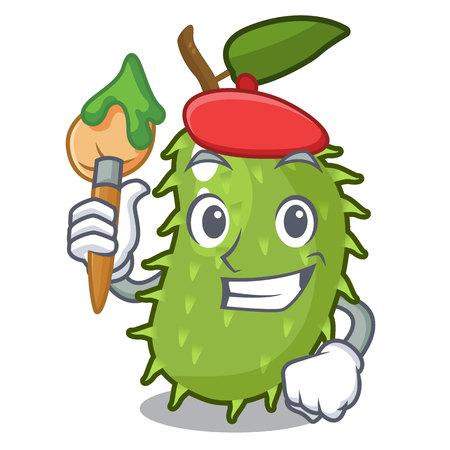 Artist cartoon soursop fruit in the market vector illustration