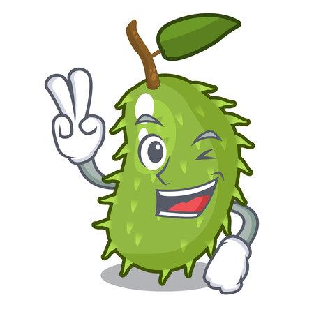 Two finger character ripe soursop fruits for juice vector illustration Illustration
