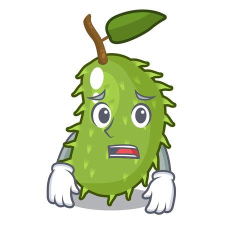 Afraid sweet soursop fruit in cartoon kitchen vector illustration