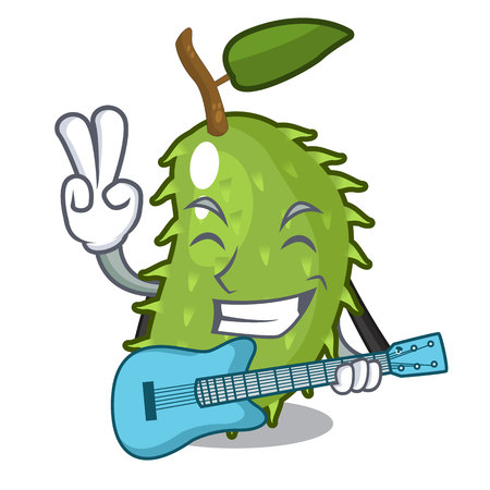 With guitar sweet soursop fruit in cartoon kitchen vector illustration