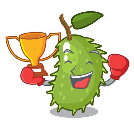 Boxing winner fresh soursop fruit isolated on mascot vector illustration