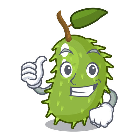 Thumbs up character ripe soursop fruits for juice vector illustration