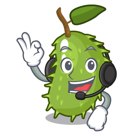 With headphone fresh soursop fruit isolated on mascot vector illustration