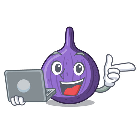 With laptop character fig fruit for healthy lifestyle vector illustration
