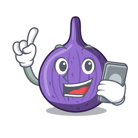 With phone character fig fruit for healthy lifestyle vector illustration