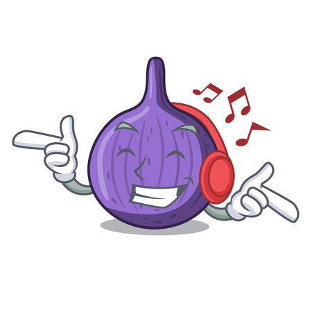Listening music fresh sweet figs on table cartoon vector illustration