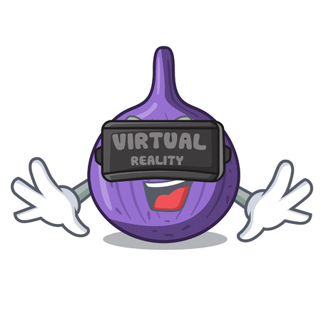 Virtual reality fresh sweet figs on table cartoon vector illustration