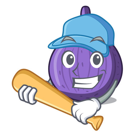 Playing baseball character fig fruit for healthy lifestyle vector illustration Illustration