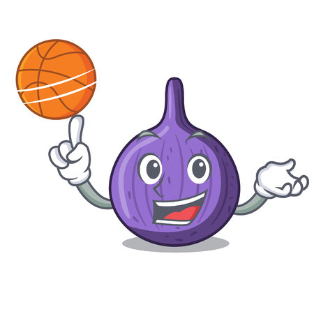 With basketball character fig fruit for healthy lifestyle vector illustration Illustration