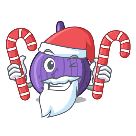 Santa with candy tasty fig fruit isolated on mascot vector illustration