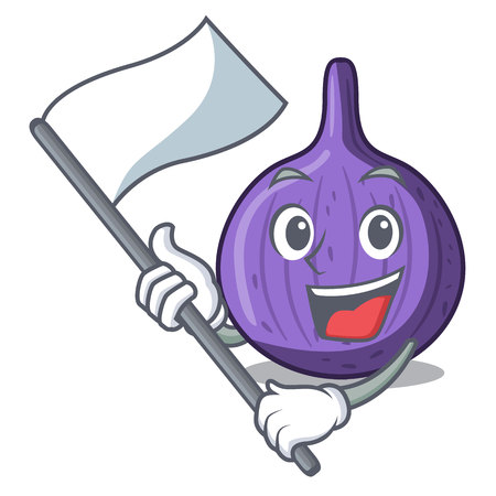 With flag tasty fig fruit isolated on mascot vector illustration