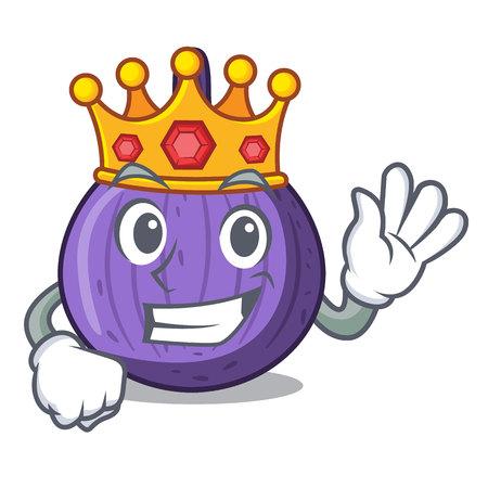 King tasty fig fruit isolated on mascot vector illustration Illustration