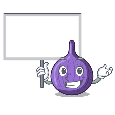 Bring board character fig fruit for healthy lifestyle vector illustration