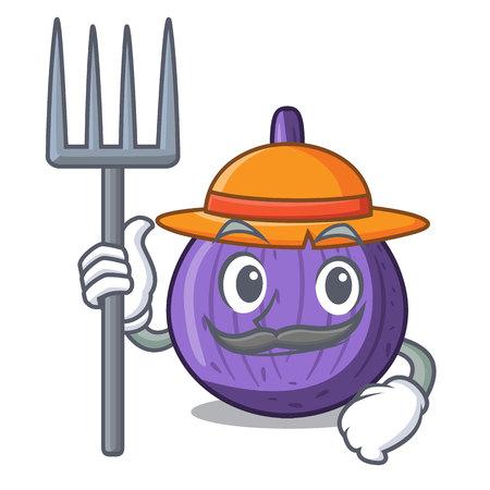 Farmer character fig fruit for healthy lifestyle vector illustration Illustration