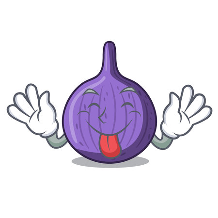 Tongue out tasty fig fruit isolated on mascot vector illustration
