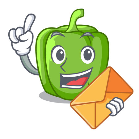 With envelope green peppers on the table cartoon vector illustration